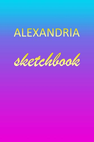 Alexandria: Sketchbook | Blank Imaginative Sketch Book Paper | Pink Blue Gold Custom Letter A Personalized Cover | Teach & Practice Drawing for ... Doodle Pad | Create, Imagine & Learn to Draw