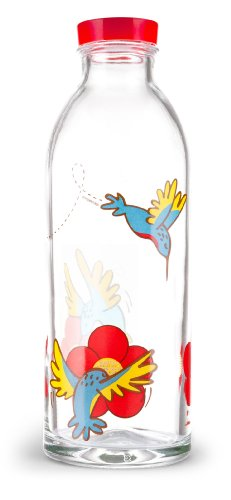 Hummingbird Feeder Reusable Glass Water Bottle By Faucet Face, 14.4 Oz.