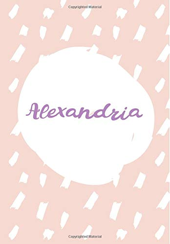 Alexandria: 7x10 inches 110 Lined Pages 55 Sheet Rain Brush Design for Woman, girl, school, college with Lettering Name,Alexandria
