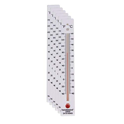 hand2mind - 23033-6 Low-Range, Dual-Scale, Mercury-Free, Safety Thermometers for Indoor Science Use (Pack of 6)