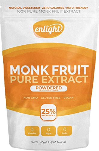 ENLIGHT - 100% Pure Monkfruit Extract (100g / 3.5oz Size) Zero Calories, Keto Friendly, Sugar Free Natural Sweetener