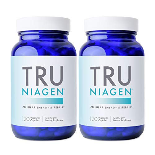TRU NIAGEN NAD+ Booster Supplement for Cellular Repair & Energy Metabolism (Nicotinamide Riboside) - 150mg Vegetarian Capsules - 300mg Per Serving - 60 Day Bottle (Pack of 2)