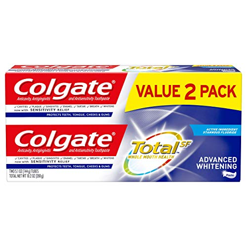 Colgate Total Advanced Whitening Toothpaste with Fluoride, Multi Benefit Toothpaste with Sensitivity Relief and Cavity Protection - 5.1 ounce (2 Pack)