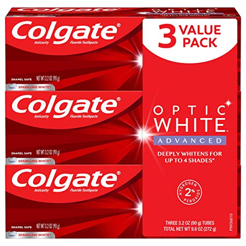 Colgate Optic White Advanced Teeth Whitening Toothpaste with Fluoride, 2% Hydrogen Peroxide, Sparkling White - 3.2 Ounce (3 Pack)