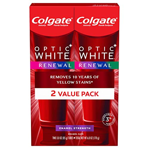 Colgate Optic White Renewal Teeth Whitening Toothpaste with Fluoride, 3% Hydrogen Peroxide, Enamel Strength - 3 Ounce (2 Pack)