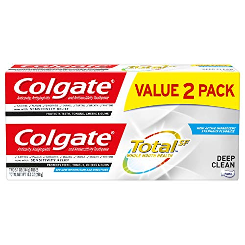 Colgate Total Toothpaste with Fluoride, Multi Benefit Toothpaste with Sensitivity Relief and Cavity Protection, Deep Clean - 5.1 ounce (2 Pack)