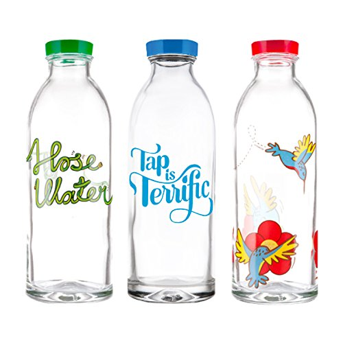 Gift Pack - 3 Classic Design, Reusable Glass Water Bottles By Faucet Face, 14.4 Oz.