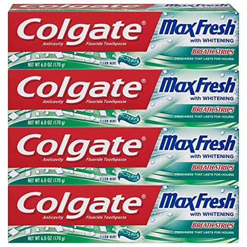 Colgate Max Fresh Whitening Toothpaste with Breath Strips,Limited Edition, Mint, 6 Oz (Pack of 4), 24 Oz