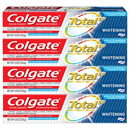 Colgate Total Whitening Toothpaste with Stannous Fluoride and Zinc, Exclusive, 4.8 Oz (4 Pack)