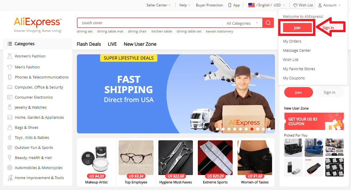 Use AliExpress to find a dropshipping niche